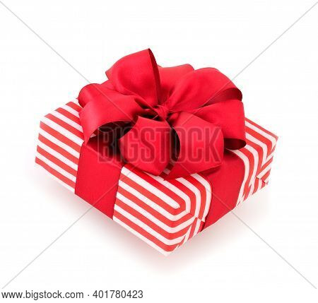 Gift Box With Red Ribbon Isolated On White Color Background.
