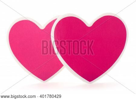 Couple Cardboard Hearts Isolated On White Background.