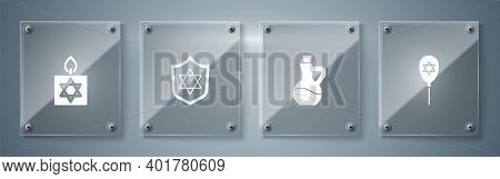 Set Balloon With Star Of David, Bottle Olive Oil, Shield Star David And Burning Candle. Square Glass
