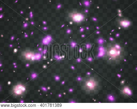 Glowing Light On A Transparent Background. Glowing Particles, Magic Glow. Sparkling Light. Star Dust