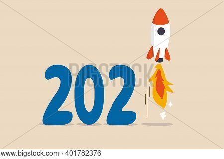 New Year 2021 Economic Recovery, Launching New Project Or Fed And Government Financial Stimulus Conc