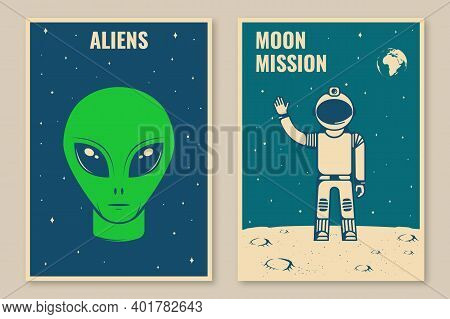 Space Mission Posters, Banners, Flyers. Vector Illustration. Concept For Shirt, Print, Stamp, Overla