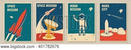 Mars City And Space Mission Posters, Banners, Flyers. Vector. Concept For Shirt, Print, Stamp. Vinta