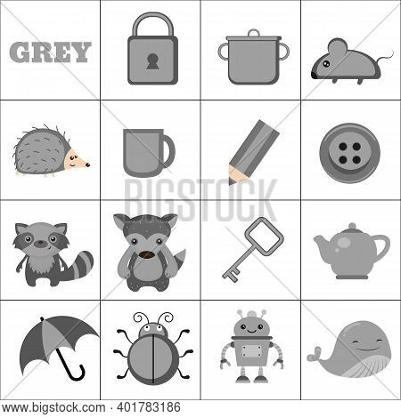 Learn The Color. Grey Objects. Education Set. Illustration Of Primary Colors.