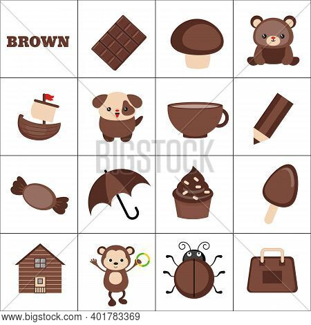 Learn The Color. Brown Objects. Education Set. Illustration Of Primary Colors.