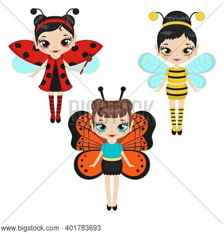 Set Of Cartoon Fairies Characters. Fairy Creatures With Sparkly Wings. Fairies Dressed As Ladybugs,