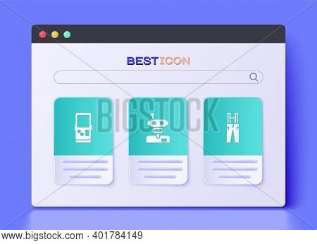 Set Robot, Tetris And Pants With Suspenders Icon. Vector