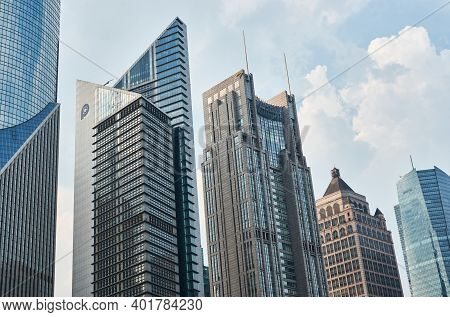 Shanghai, China - July 28, 2015: Shanghai Skyscrapers In Pudong New Area In Shanghai, China