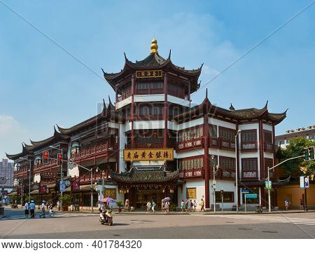 Shanghai, China - July 29, 2015: Markets And Tourist Shops At The Old City God Temple Commercial Are