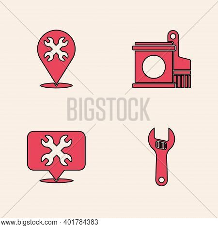 Set Adjustable Wrench, Location With, Paint Bucket And Brush And Icon. Vector
