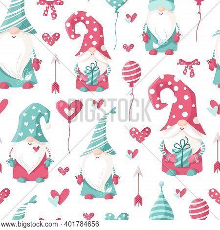 Valentine Cartoon Gnome Seamless Pattern - Cute Valentine Day Characters For Kids, Nursery Dwarfs En