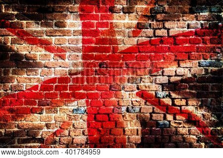 Union Jack Flag Painted On An Old Brick Wall Grunge Background