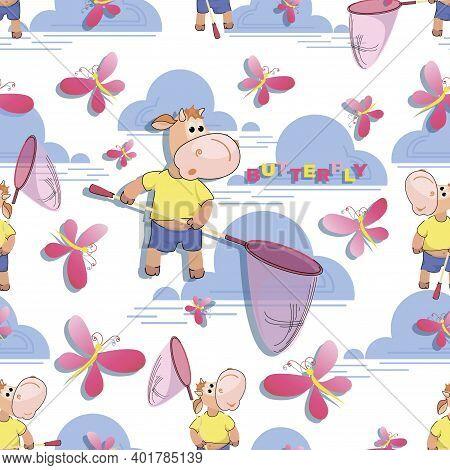 Cute Calf, Butterflies. Butterfly Net. Vector Background. Design For Kids Textiles, Gifts, Holiday P