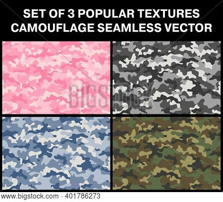 The Most Popular Multicolored Military Camouflage Textures. Repeating Patterns Seamless. Set Vector