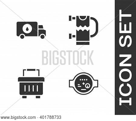 Set Water Meter, Plumber Service Car, Toolbox And Heated Towel Rail Icon. Vector