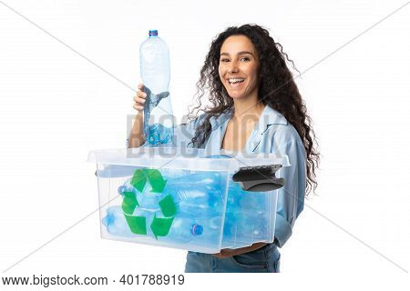 Happy Woman Putting Used Plastic Bottle To Box With Recycle Symbol Posing Standing On White Backgrou