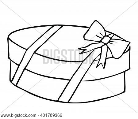 A Parcel Or Gift In Craft Paper Tied With Twine And Sealed With Sealing Wax. Freehand Outline Drawin