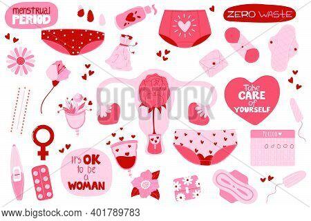 Menstruation Set. Bundle Of Menstruation, Period, Female Uterus, Zero Waste Feminine Hygiene Product