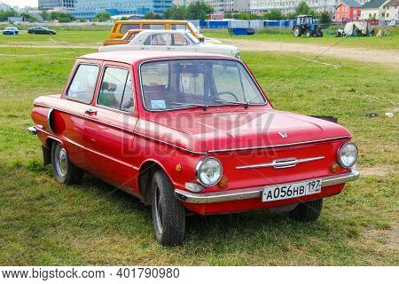Moscow, Russia - July 6, 2012: Soviet Compact Retro Car Zaz 968 Zaporozhets Presented At The Annual