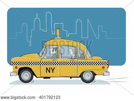 Yellow Cab Retro Silhouette On A White Background.