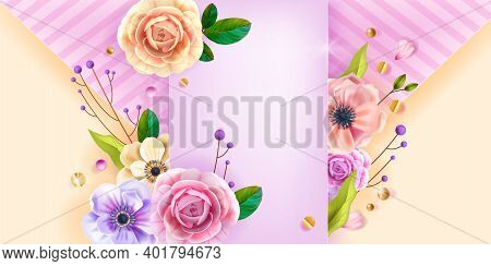 Valentines, Mothers Day Love Vector Background, Greeting Card, Floral Poster With Anemone Flower, Ro