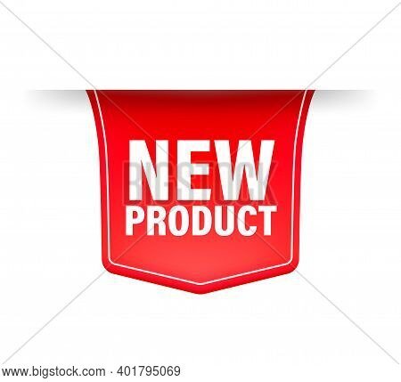 New Product. Realistic Badge In Red Color. Product Advertising. Web Design. Vector Illustration.