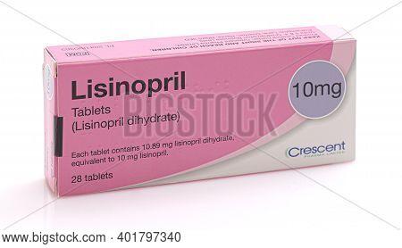 Swindon, Uk - January 2, 2021:  Packet Of Lisinopril Tablets. Ace Inhibitor Drug Used In The Treatme