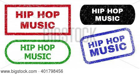 Hip Hop Music Grunge Seals. Flat Vector Scratched Watermarks With Hip Hop Music Text Inside Differen