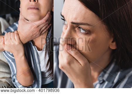Collage Of Woman With Bruises Covering Mouth And Abusive Husband Choking At Home