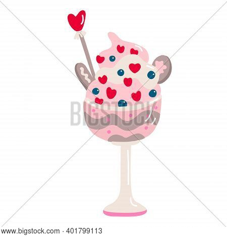 Dessert Decorated With Whipped Cream And Hearts In Sundae Glass, Bowl. Valentine's Day Decoration. V