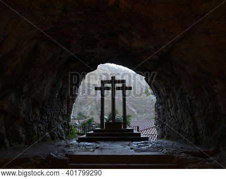 Three Crosses Religious Christian Symbol In Catholic Cave Sanctuary Holy Cave Of Our Lady Covadonga