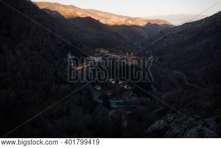 Aerial Panorama Of Holy Religious Pilgrimage Site Covadonga Basilica Cave Cathedral Cangas De Onis A