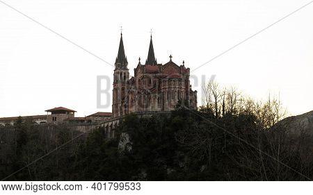 Catholic Christian Church Abbey Pilgrimage Site Basilica De Santa Maria La Real De Covadonga In Astu
