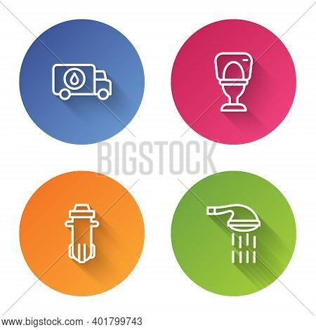 Set Line Plumber Service Car, Toilet Bowl, Water Filter And Shower. Color Circle Button. Vector