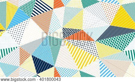 Polygonal Linear Color Seamless Pattern, Graphic Colorful Low Poly Striped Endless Wallpaper Backgro