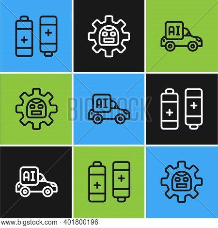 Set Line Battery, Autonomous Smart Car And Robot Icon. Vector