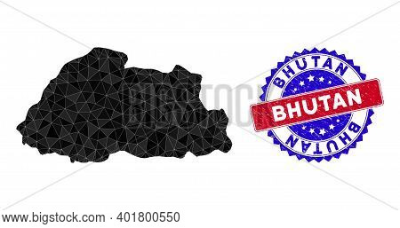 Bhutan Map Polygonal Mesh With Filled Triangles, And Rubber Bicolor Stamp. Triangle Mosaic Bhutan Ma