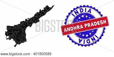 Andhra Pradesh State Map Polygonal Mesh With Filled Triangles, And Rough Bicolor Stamp Seal. Triangl