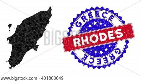 Rhodes Island Map Polygonal Mesh With Filled Triangles, And Scratched Bicolor Stamp. Triangle Mosaic
