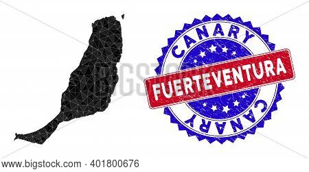 Fuerteventura Island Map Polygonal Mesh With Filled Triangles, And Unclean Bicolor Stamp Seal. Trian
