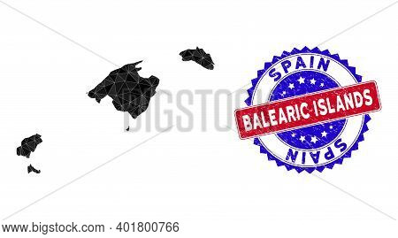 Balearic Islands Map Polygonal Mesh With Filled Triangles, And Rough Bicolor Stamp Seal. Triangle Mo
