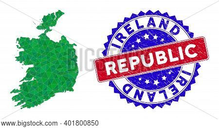 Ireland Republic Map Polygonal Mesh With Filled Triangles, And Rubber Bicolor Rubber Seal. Triangle