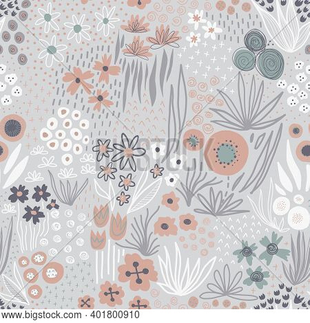 Winter Flowers Seamless Vector Pattern. Repeating Liberty Doodle Flower Meadow Background In Cold Bl
