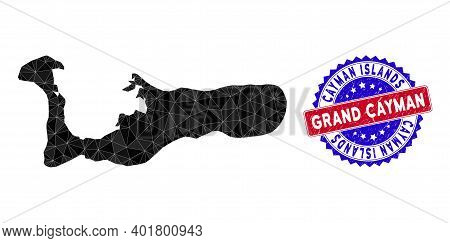 Grand Cayman Island Map Polygonal Mesh With Filled Triangles, And Scratched Bicolor Watermark. Trian