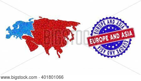 Europe And Asia Map Polygonal Mesh With Filled Triangles, And Unclean Bicolor Stamp. Triangle Mosaic