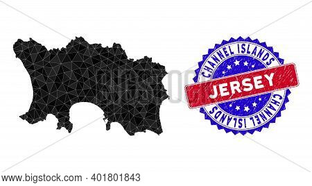 Jersey Island Map Polygonal Mesh With Filled Triangles, And Scratched Bicolor Stamp Imitation. Trian