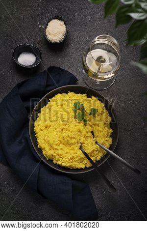 Traditional Italian Risotto With Saffron