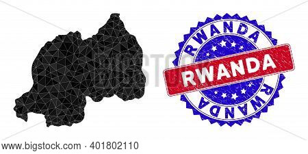 Rwanda Map Polygonal Mesh With Filled Triangles, And Unclean Bicolor Stamp Imitation. Triangle Mosai