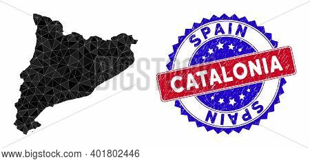 Catalonia Map Polygonal Mesh With Filled Triangles, And Textured Bicolor Seal. Triangle Mosaic Catal