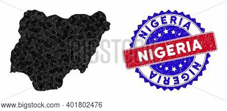 Nigeria Map Polygonal Mesh With Filled Triangles, And Rubber Bicolor Rubber Seal. Triangle Mosaic Ni